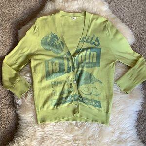JCrew Neon Yellow/Lime Cardigan Women's, M/L